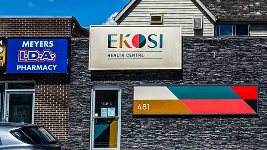 Ekosi Health Centre next to Meyers pharmacy on William and Isabel.